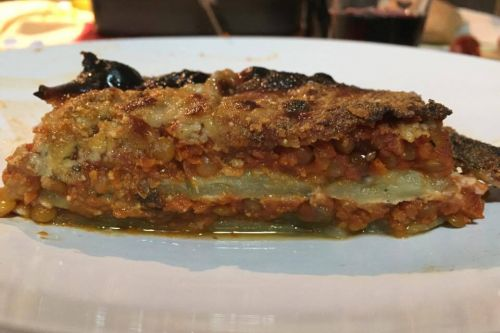 Moussaka light con ragù di lenticchie